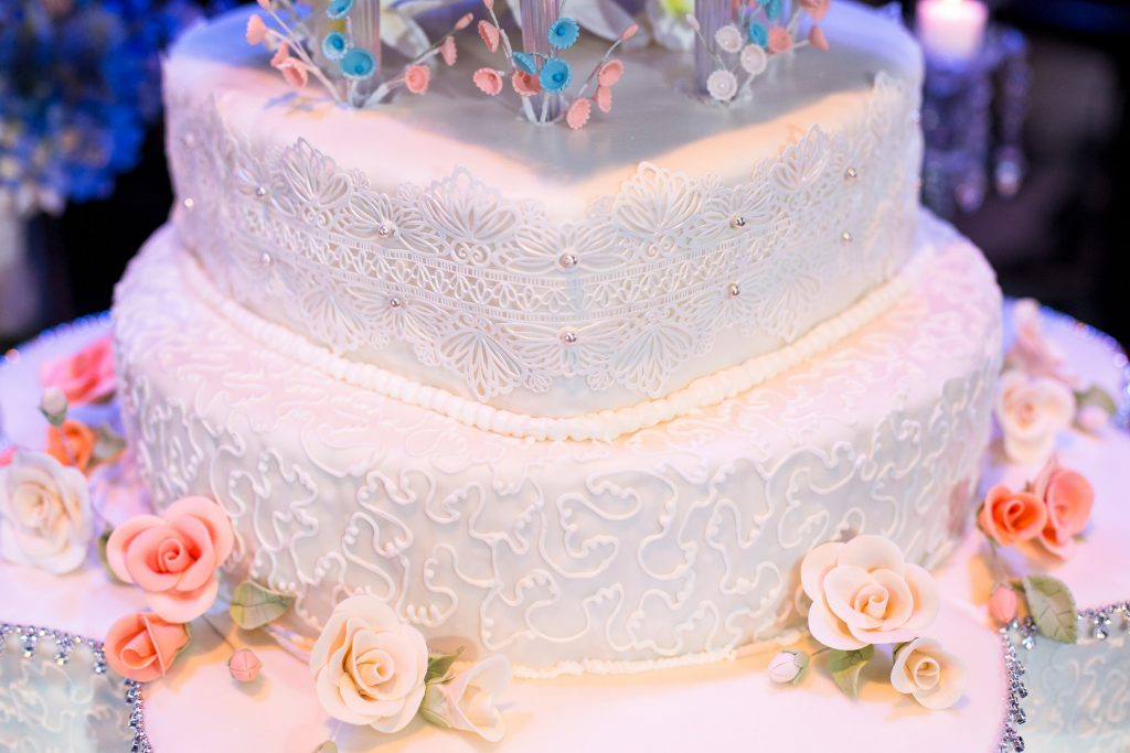 Wedding Cake Detail Lace Roses Homemade | Blue & White Glamorous Wedding The Abbey The Mezz Anna Christine Events Kathy Thomas Photography