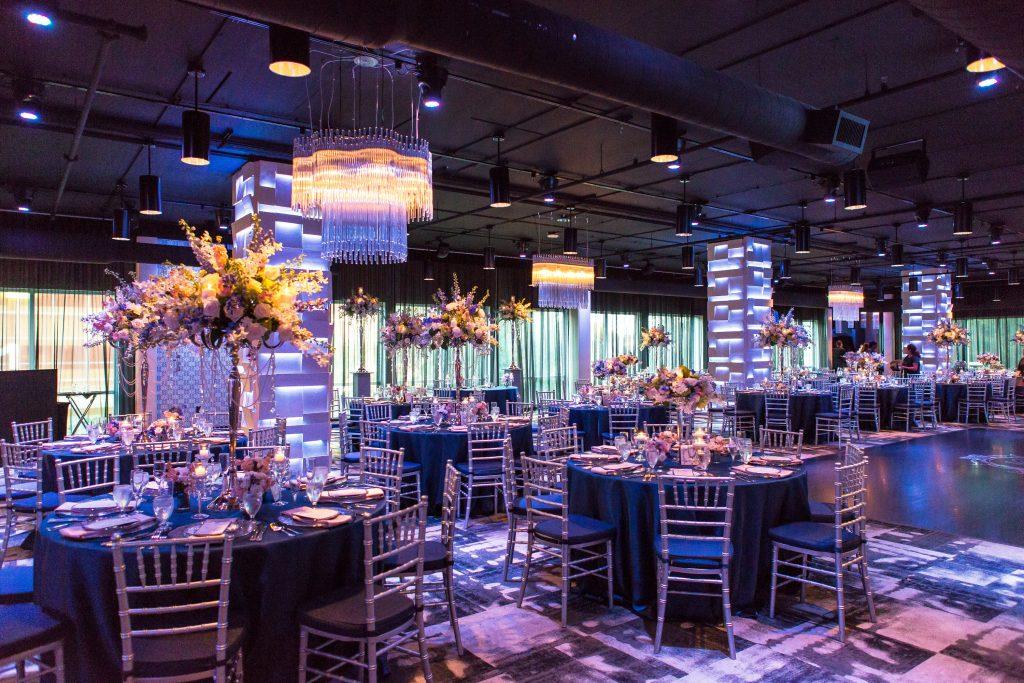 Reception Room Tables | Blue & White Glamorous Wedding The Abbey The Mezz Anna Christine Events Kathy Thomas Photography