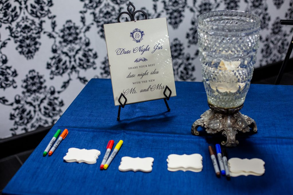 Date Night Jar Ideas Reception | Blue & White Glamorous Wedding The Abbey The Mezz Anna Christine Events Kathy Thomas Photography