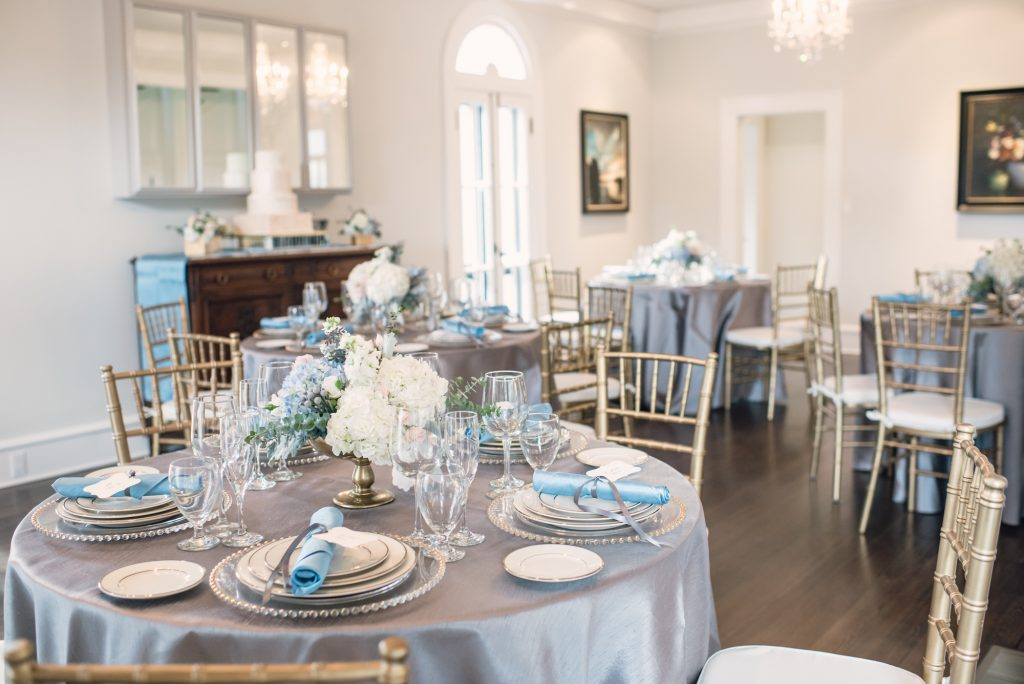 Reception Dinner Bluegrass Chic Orlando Wedding and Party Rentals | Wedding Photo Shoot Historic Estate Capen Showalter House Serenity Rose Quartz Florida Anna Christine Events