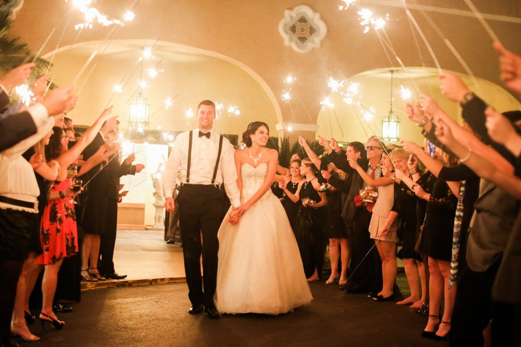 Sparkler Exit Bride & Groom | Red & Black Wedding Classic Romantic Dark Mission Inn Resort Anna Christine Events Wings of Glory Photography