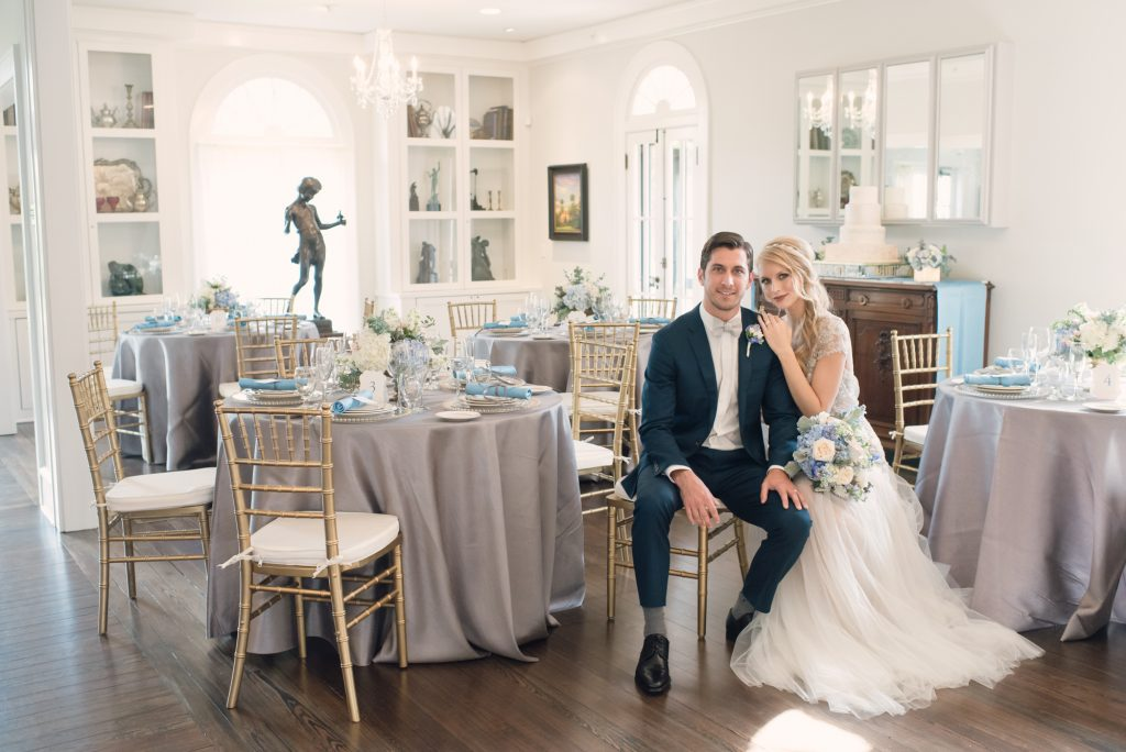 Reception Dinner Tables Bride & Groom | Wedding Photo Shoot Historic Estate Capen Showalter House Serenity Rose Quartz Florida Anna Christine Events