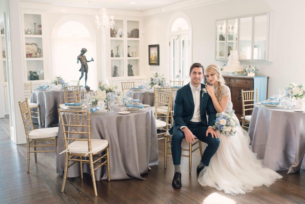 Reception Dinner Tables Bride & Groom | Wedding Photo Shoot Historic Estate Capen Showalter House Serenity Rose Quartz Florida Anna Christine Events