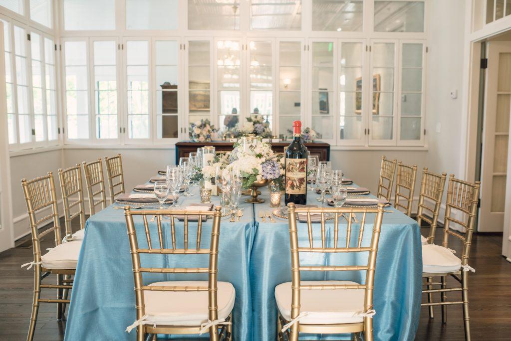 Reception Dinner Table Wine Bottle | Wedding Photo Shoot Historic Estate Capen Showalter House Serenity Rose Quartz Florida Anna Christine Events
