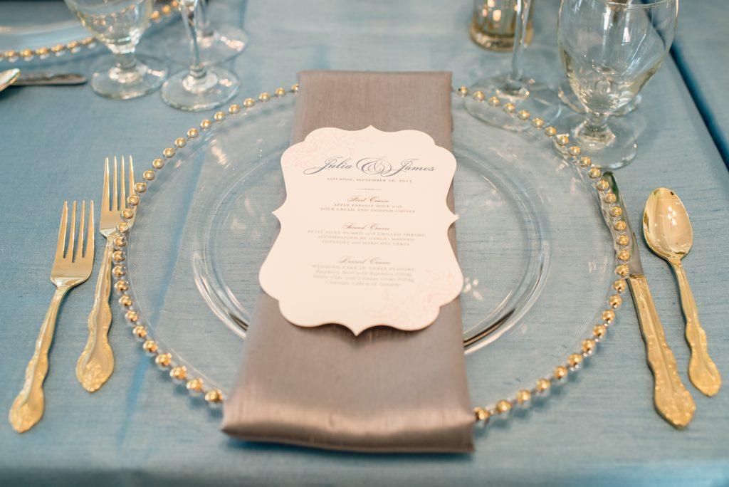 Reception Dinner Table Menu Dogwood Blossom Stationery | Wedding Photo Shoot Historic Estate Capen Showalter House Serenity Rose Quartz Florida Anna Christine Events