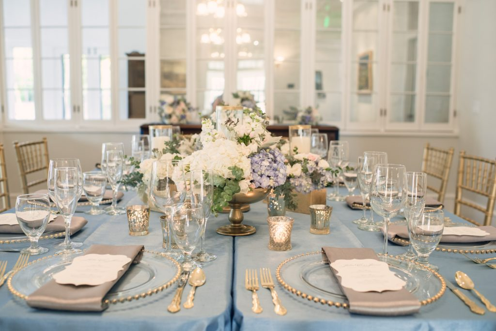 Reception Dinner Table Wine Bottle | Wedding Photo Shoot Historic Estate Capen Showalter House Serenity Rose Quartz Florida Anna Christine Events