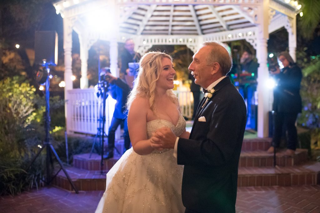 Father Daughter Dance The Bay Kings Band | The Courtyard at Lake Lucerne Classic Purple & Orange Wedding Football Texas Longhorns Sports Lake Lucerne Courtyard Anna Christine Events Orlando Kathy Thomas Photography
