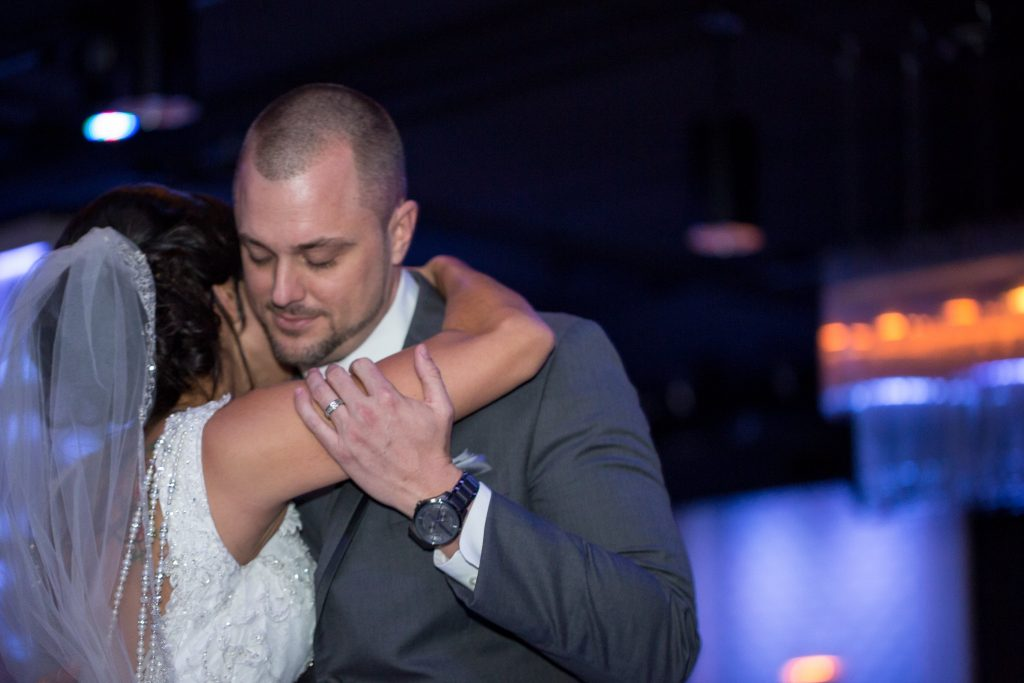 Bride & Groom Slow Dance | Click! Photo Booth Bride & Groom Reception Cosmic Cafe Coffee | Blue & White Glamorous Wedding The Abbey The Mezz Anna Christine Events Kathy Thomas Photography