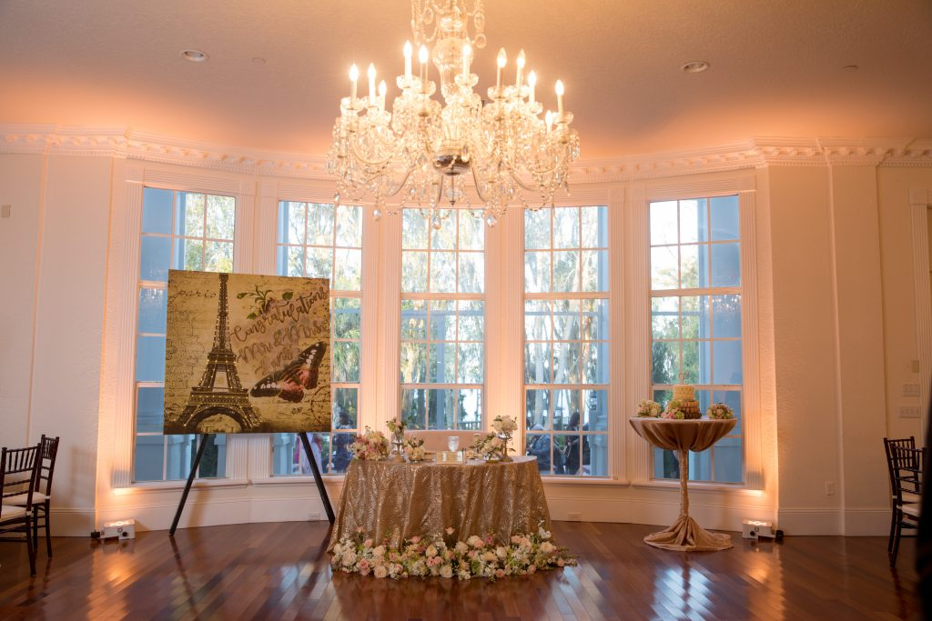 Chandelier over Sweetheart Table Paris Eiffel Tower | Travel Inspired Themed Glamorous Gold & White Wedding Luxmore Grande Estate Anna Christine Events Justin DeMutiis Photography