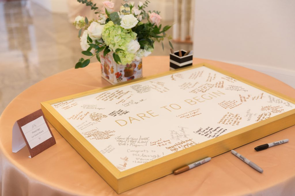 Signed Guest Book Dare to Begin | Travel Inspired Themed Glamorous Gold & White Wedding Luxmore Grande Estate Anna Christine Events Justin DeMutiis Photography