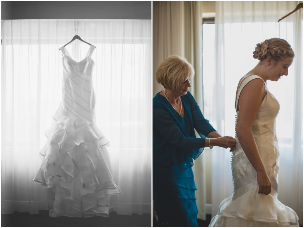 Bride getting ready in wedding dress Matthew Christopher | Nerd Geek Chic Wedding Theme Game of Thrones Harry Potter Super Mario Orlando Science Center Anna Christine Events Orlando Wedding Planner Ashley Jane Photography