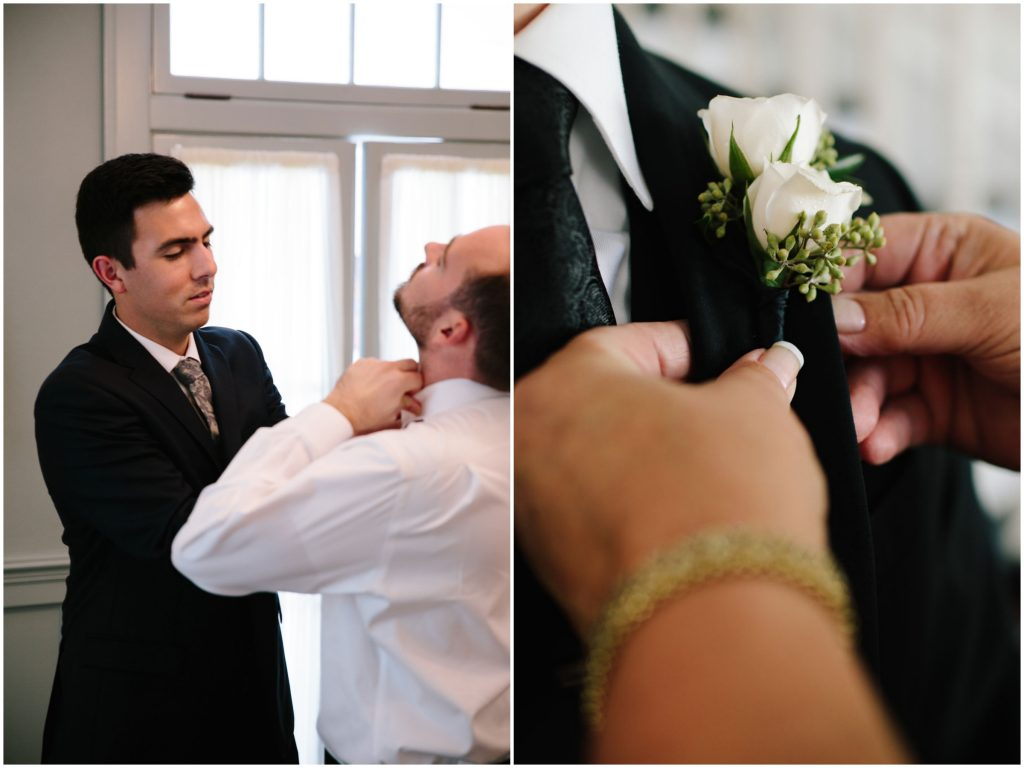 Guys Getting Ready Boutonniere | Romantic Red & White Capen House Wedding Geometric Gold Anna Christine Events J Lebron Photography