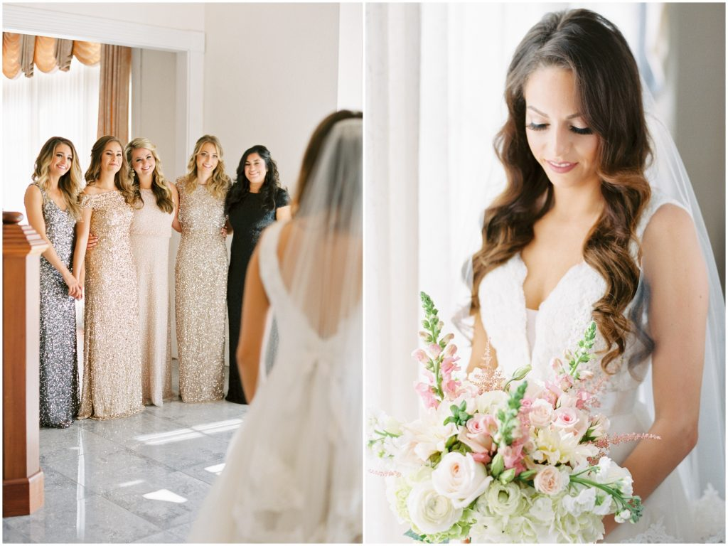 Bride Getting Ready Bridesmaids Sparkly Dresses | Travel Inspired Themed Glamorous Gold & White Wedding Luxmore Grande Estate Anna Christine Events Justin DeMutiis Photography