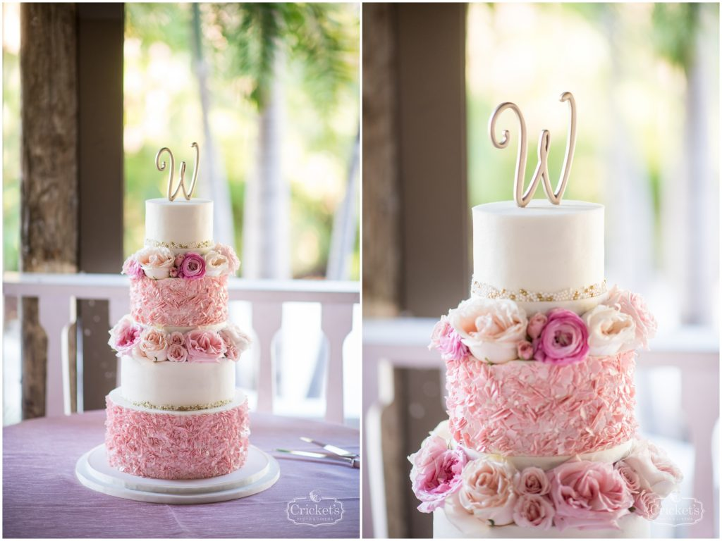 Sprinkles Custom Cakes Wedding Cake Multi-Tier Cake Topper | Classic Pink & White Beach Wedding Paradise Cove Lakeside Orlando Anna Christine Events Cricket's Photography