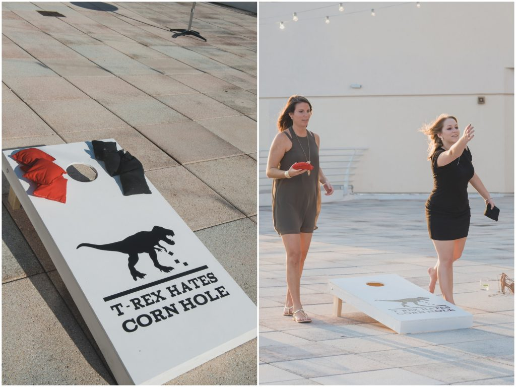 Corn Hole T-Rex at Cocktail Hour | Nerd Geek Chic Wedding Theme Game of Thrones Harry Potter Super Mario Orlando Science Center Anna Christine Events Orlando Wedding Planner Ashley Jane Photography