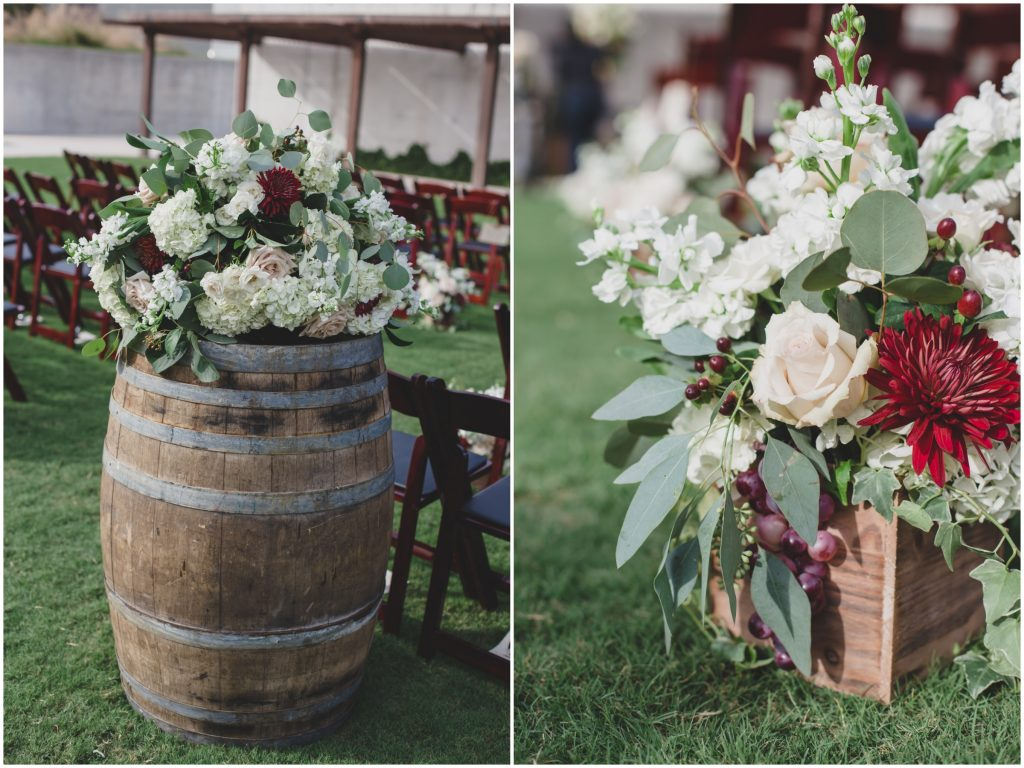 Flowers at Ceremony Barrel | Rustic Chic Wedding Romantic Ashley Jane Photography Streamsong Resort Florida Orlando Wedding Planner Anna Christine Events