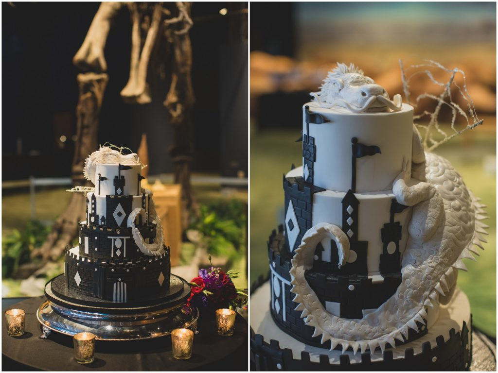 Game of Thrones wedding cake dragon on castle | Nerd Geek Chic Wedding Theme Game of Thrones Harry Potter Super Mario Orlando Science Center Anna Christine Events Orlando Wedding Planner Ashley Jane Photography