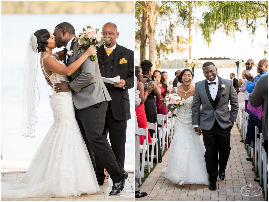 Bride & Groom Kissing Ceremony Outdoor | Classic Pink & White Beach Wedding Paradise Cove Lakeside Orlando Anna Christine Events Cricket's Photography