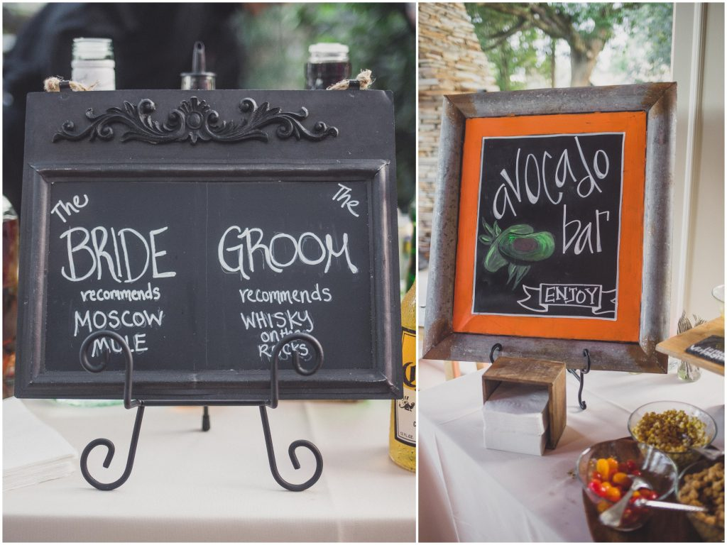 Cocktail hour bride & groom drinks avocado bar Arthur's Catering | Bright Backyard Wedding Colorful Knowles Chapel Lora Rodgers Photography Anna Christine Events