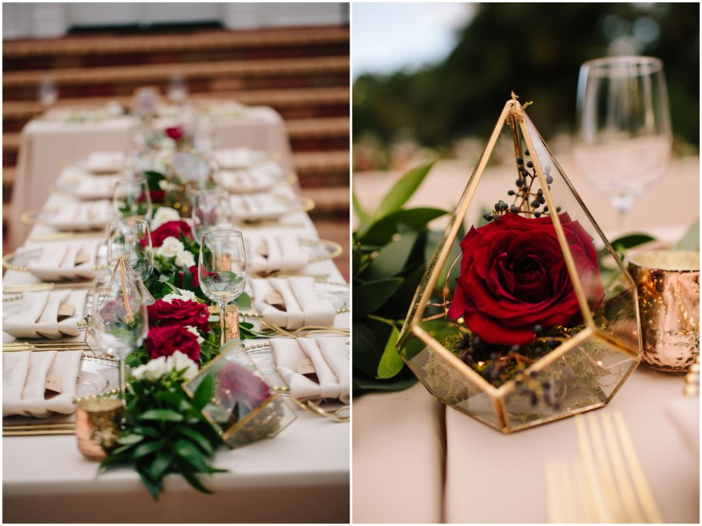Geometric Flowers Centerpieces Flowers by Lesley | Romantic Red & White Capen House Wedding Geometric Gold Anna Christine Events J Lebron Photography
