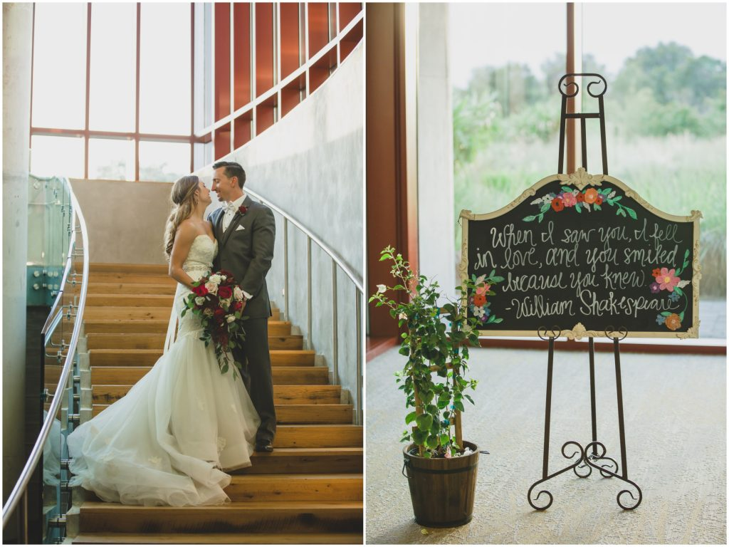 Bride & Groom on stairs welcome sign Shakespeare reception | Rustic Chic Wedding Romantic Ashley Jane Photography Streamsong Resort Florida Orlando Wedding Planner Anna Christine Events