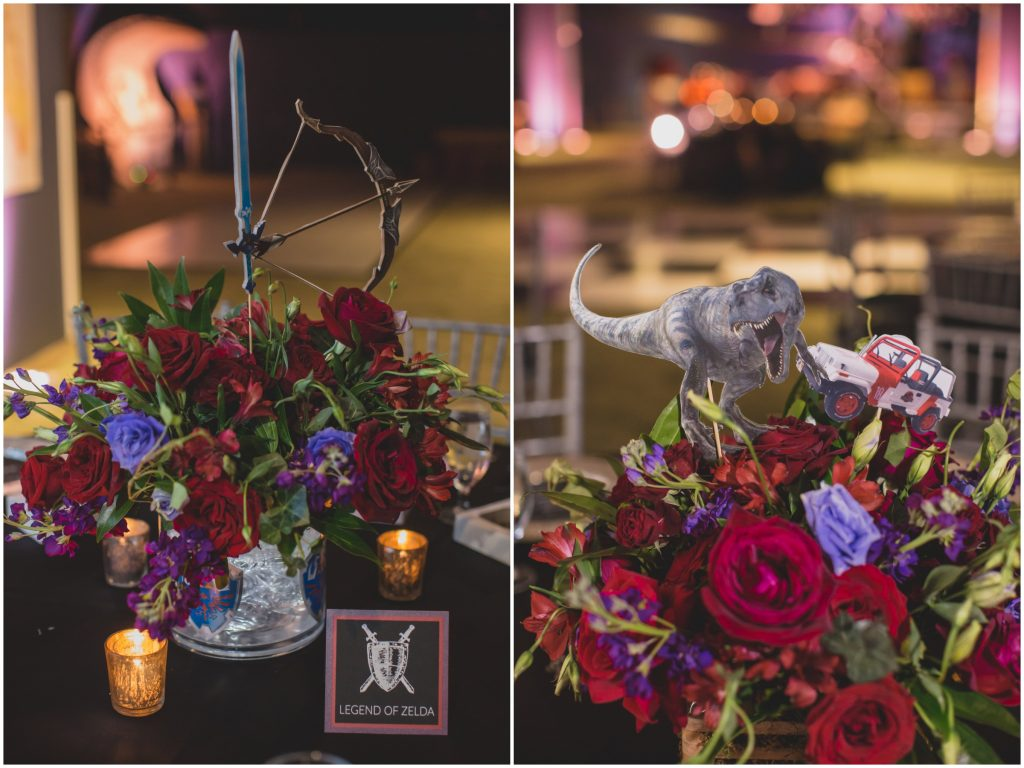 Legend of Zelda Jurassic Park centerpieces | Nerd Geek Chic Wedding Theme Game of Thrones Harry Potter Super Mario Orlando Science Center Anna Christine Events Orlando Wedding Planner Ashley Jane Photography