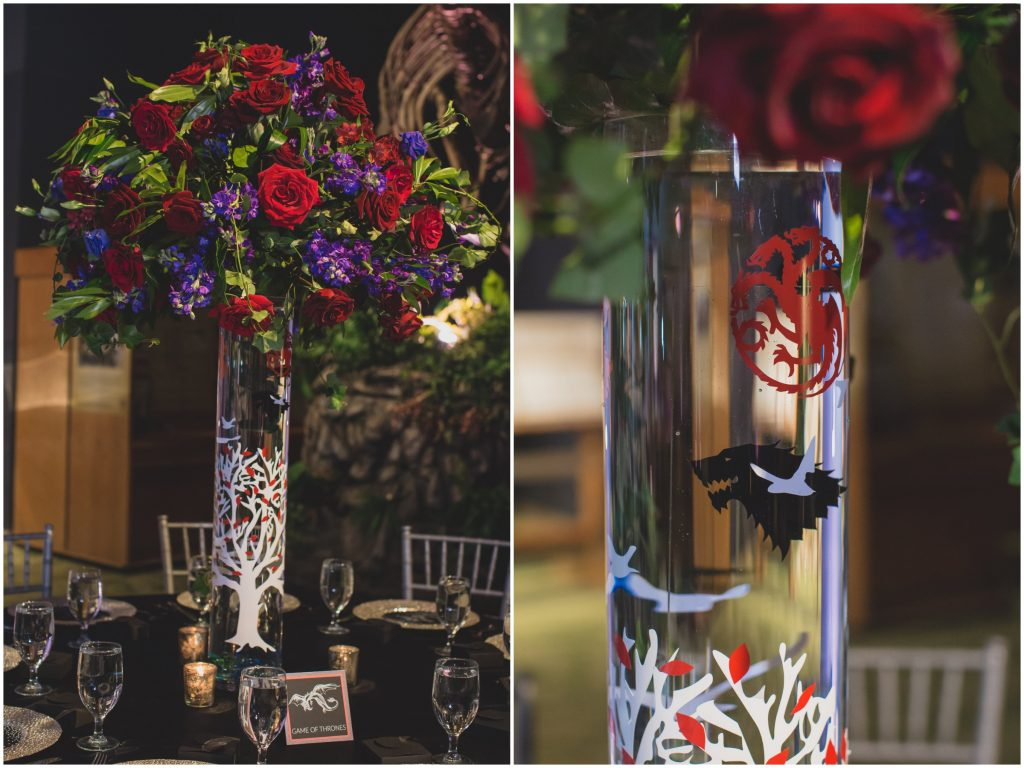 Game of Thrones reception centerpiece | Nerd Geek Chic Wedding Theme Game of Thrones Harry Potter Super Mario Orlando Science Center Anna Christine Events Orlando Wedding Planner Ashley Jane Photography