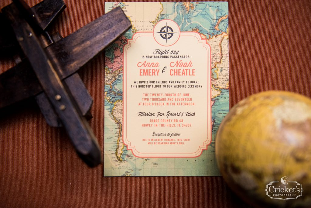 Invitation Printed Paper Goods | Travel Themed Inspired Wedding Mission Inn Resort Orlando Florida Anna Christine Events Cricket's Photo & Cinema