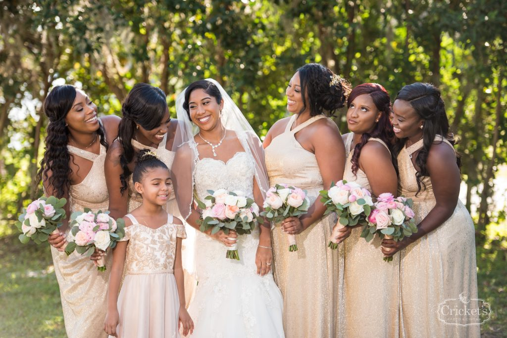 Bride & Bridesmaids with Bouquets Getting Ready Before | Classic Pink & White Beach Wedding Paradise Cove Lakeside Orlando Anna Christine Events Cricket's Photography