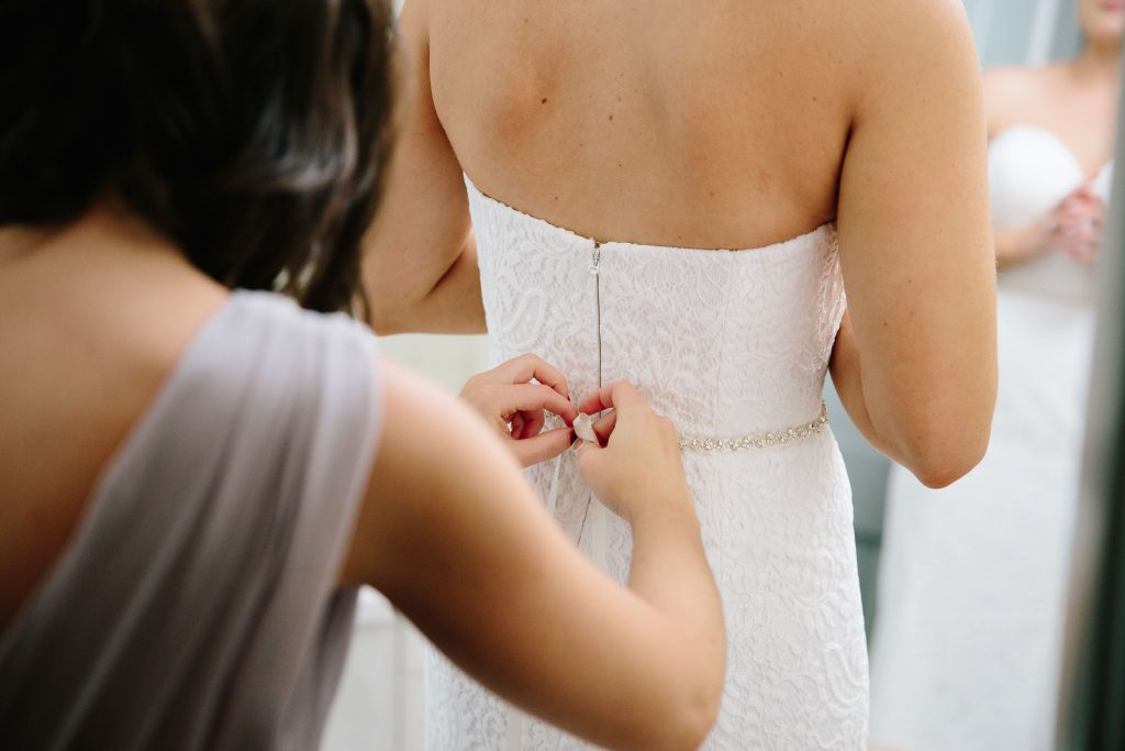 Bride Getting Ready | Romantic Red & White Capen House Wedding Geometric Gold Anna Christine Events J Lebron Photography