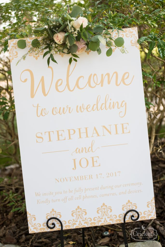 Welcome Sign Outdoor Wedding | Classic Pink & White Beach Wedding Paradise Cove Lakeside Orlando Anna Christine Events Cricket's Photography