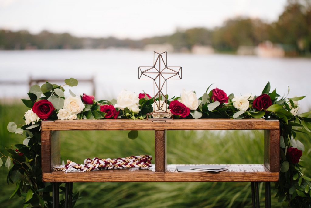 Ceremony Cross Table | Romantic Red & White Capen House Wedding Geometric Gold Anna Christine Events J Lebron Photography