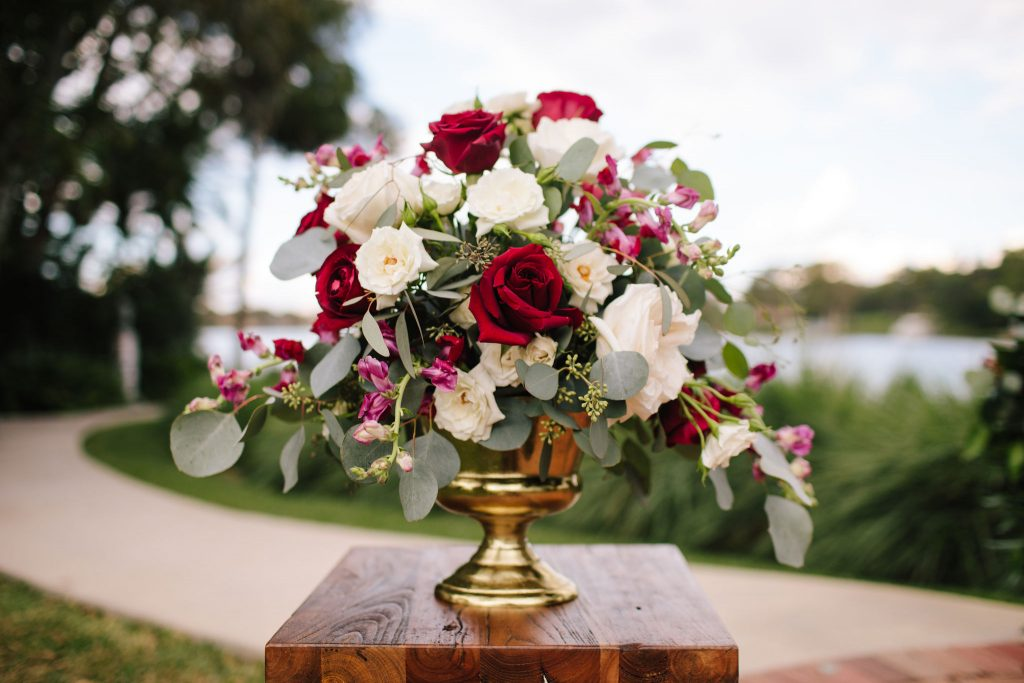 Ceremony Floral Arrangement Flowers by Lesley | Romantic Red & White Capen House Wedding Geometric Gold Anna Christine Events J Lebron Photography