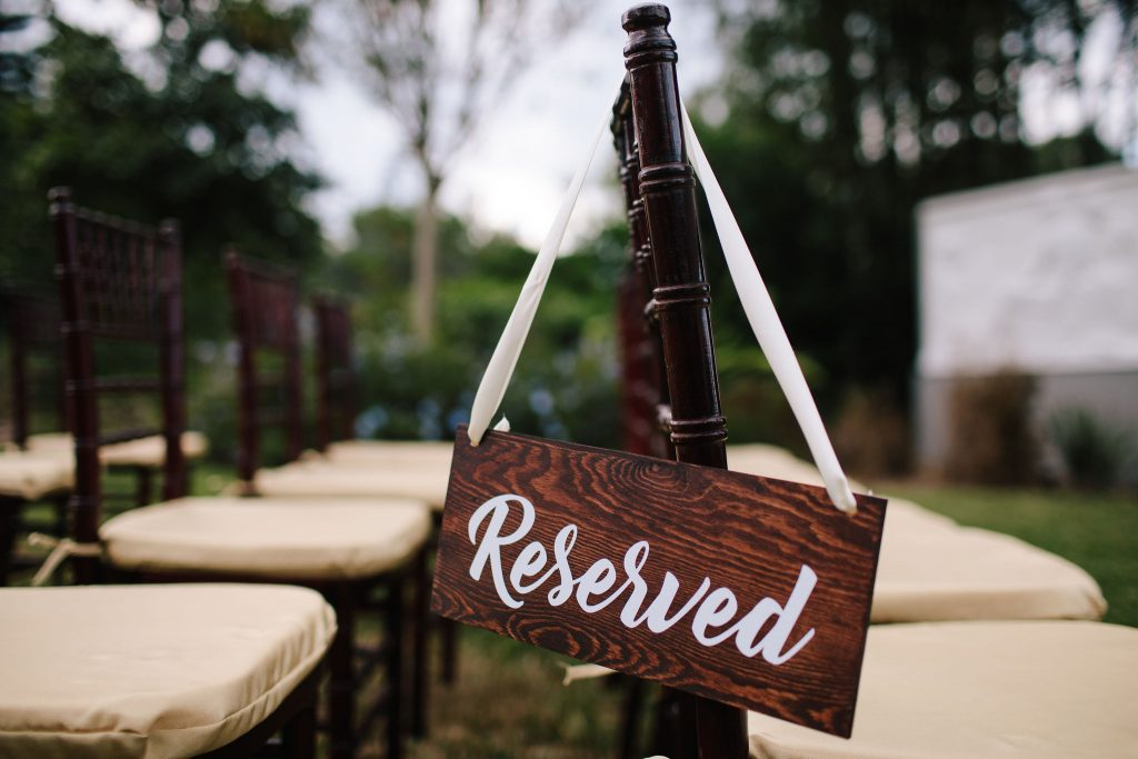 Reserved Sign Ceremony Seating | Romantic Red & White Capen House Wedding Geometric Gold Anna Christine Events J Lebron Photography