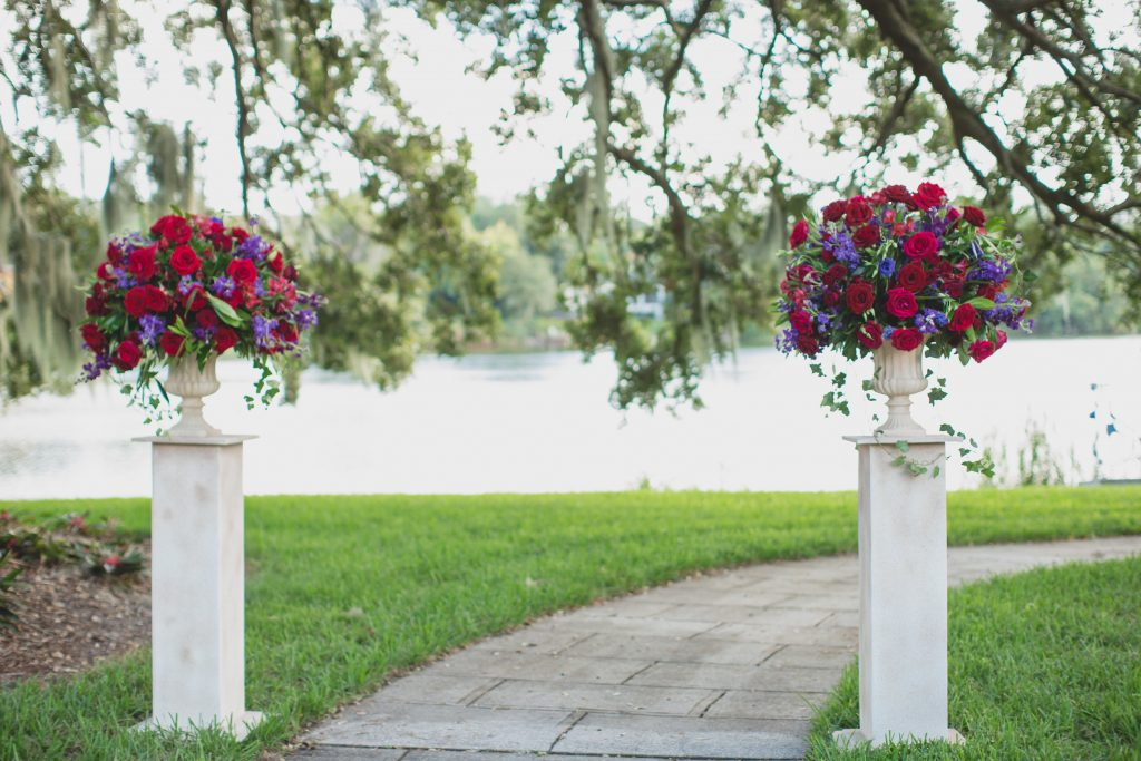 Floral altar ceremony | Nerd Geek Chic Wedding Theme Game of Thrones Harry Potter Super Mario Orlando Science Center Anna Christine Events Orlando Wedding Planner Ashley Jane Photography