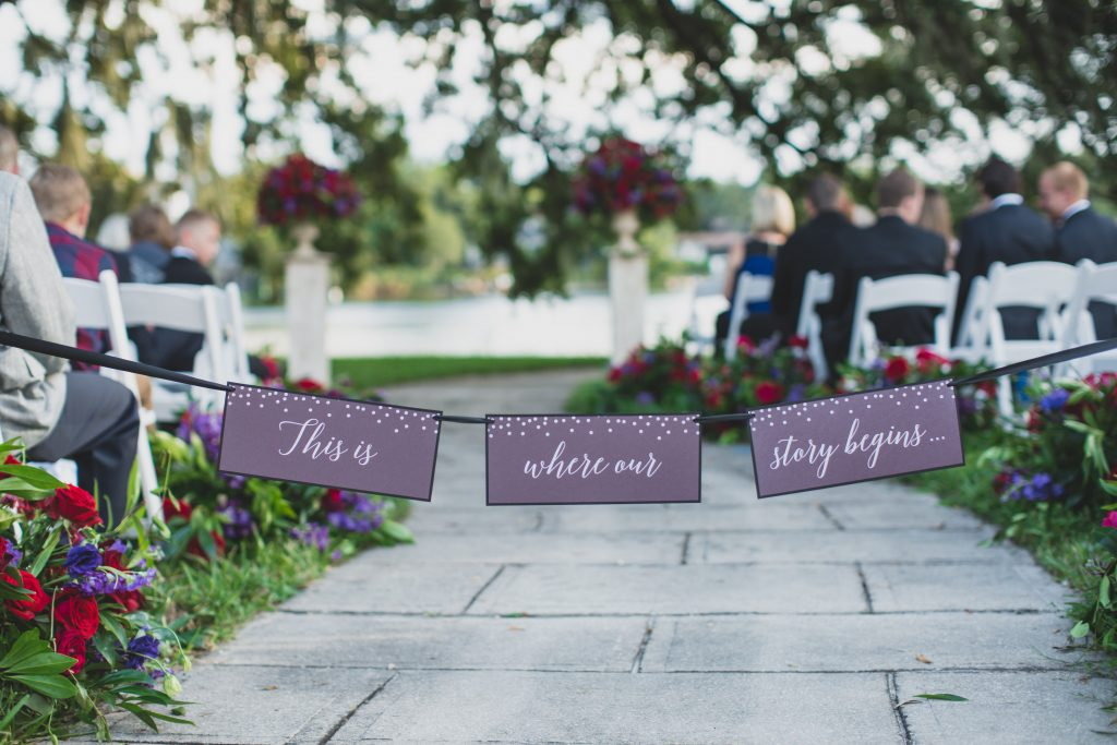 Signs at ceremony | Nerd Geek Chic Wedding Theme Game of Thrones Harry Potter Super Mario Orlando Science Center Anna Christine Events Orlando Wedding Planner Ashley Jane Photography