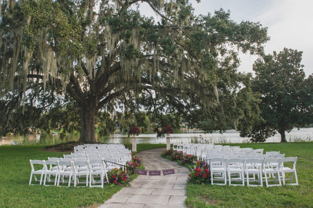 Ceremony outdoors Nerd Geek Chic Wedding Theme Game of Thrones Harry Potter Super Mario Orlando Science Center Anna Christine Events Orlando Wedding Planner Ashley Jane Photography