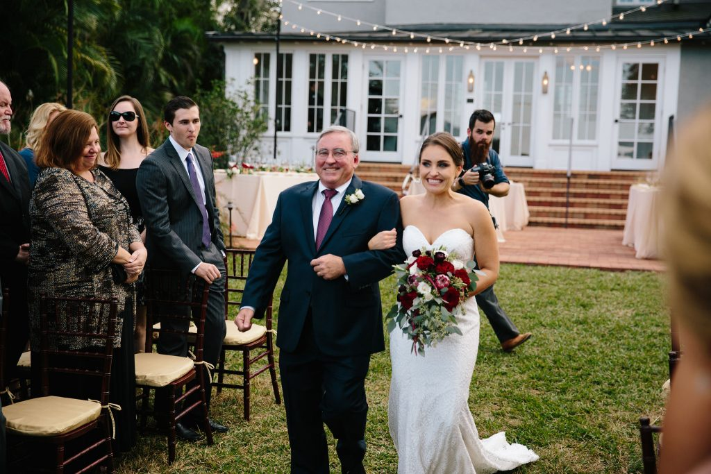 Bride Walking Down Aisle with Father | Romantic Red & White Capen House Wedding Geometric Gold Anna Christine Events J Lebron Photography