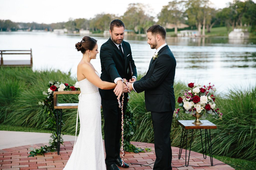 Bride & Groom Rope Ceremony | Romantic Red & White Capen House Wedding Geometric Gold Anna Christine Events J Lebron Photography