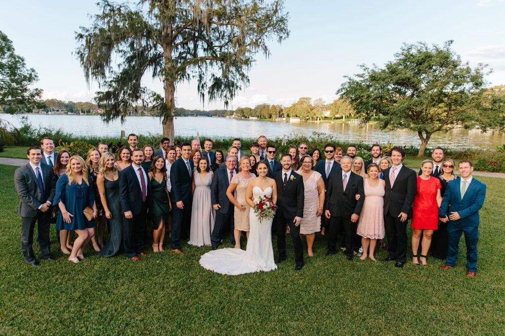 Group Picture Ceremony | Romantic Red & White Capen House Wedding Geometric Gold Anna Christine Events J Lebron Photography