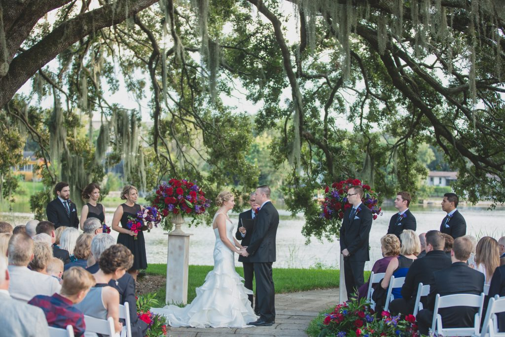 Bride & groom outdoor ceremony | Nerd Geek Chic Wedding Theme Game of Thrones Harry Potter Super Mario Orlando Science Center Anna Christine Events Orlando Wedding Planner Ashley Jane Photography
