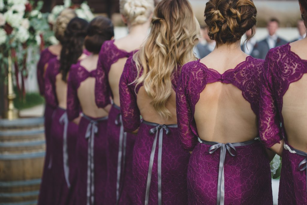 Bridesmaids backless dresses | Rustic Chic Wedding Romantic Ashley Jane Photography Streamsong Resort Florida Orlando Wedding Planner Anna Christine Events