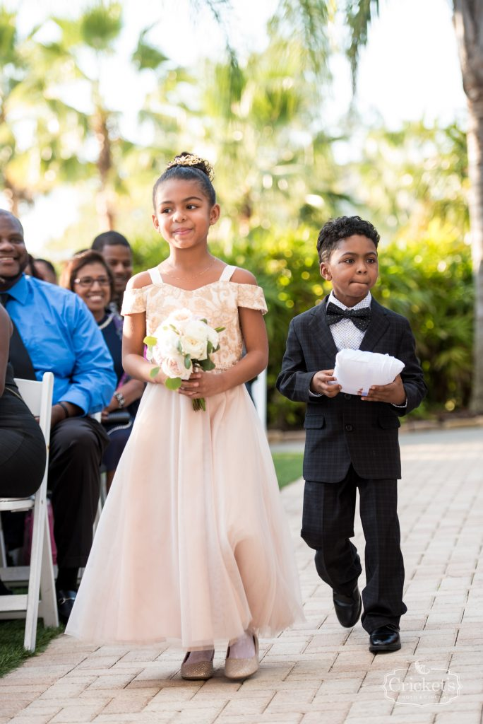 Ring Bearer & Flower Girl Walking Down Aisle Ceremony | Classic Pink & White Beach Wedding Paradise Cove Lakeside Orlando Anna Christine Events Cricket's Photography