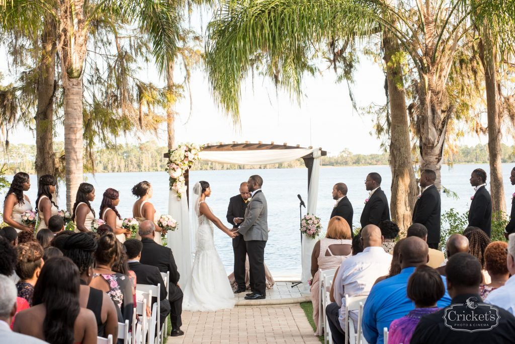 Bride & Groom at Arbor | Classic Pink & White Beach Wedding Paradise Cove Lakeside Orlando Anna Christine Events Cricket's Photography