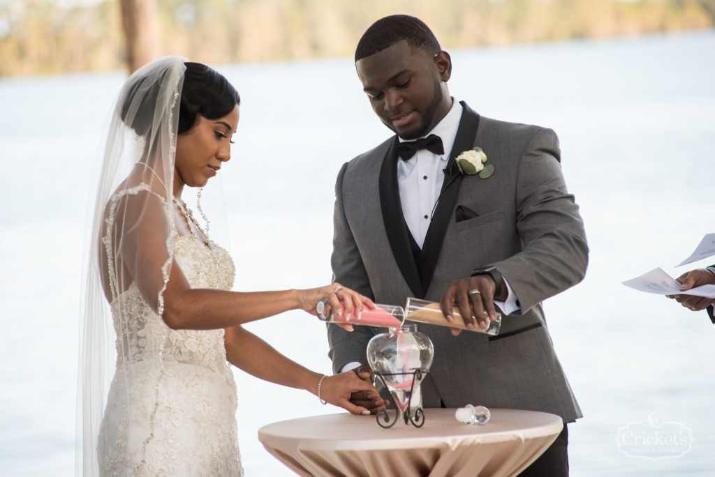 Bride & Groom Pouring Sand Ceremony | Classic Pink & White Beach Wedding Paradise Cove Lakeside Orlando Anna Christine Events Cricket's Photography