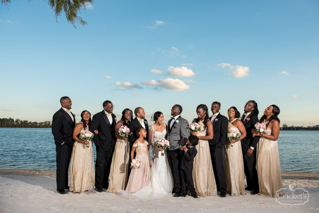 Bride & Groom with Wedding Party | Classic Pink & White Beach Wedding Paradise Cove Lakeside Orlando Anna Christine Events Cricket's Photography