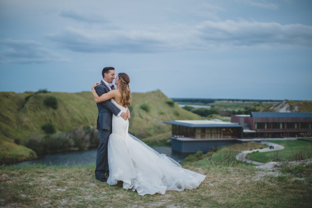 Bride & groom outdoors Rustic Chic Wedding Romantic Ashley Jane Photography Streamsong Resort Florida Orlando Wedding Planner Anna Christine Events