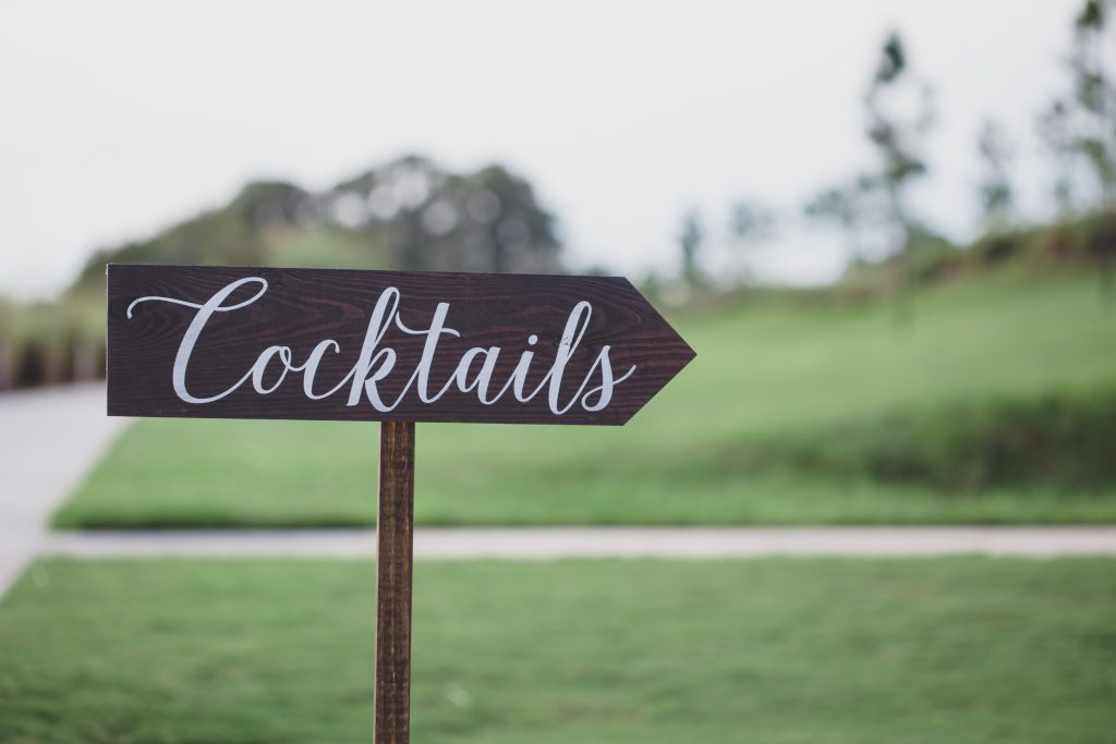 Cocktails wooden sign | Rustic Chic Wedding Romantic Ashley Jane Photography Streamsong Resort Florida Orlando Wedding Planner Anna Christine Events