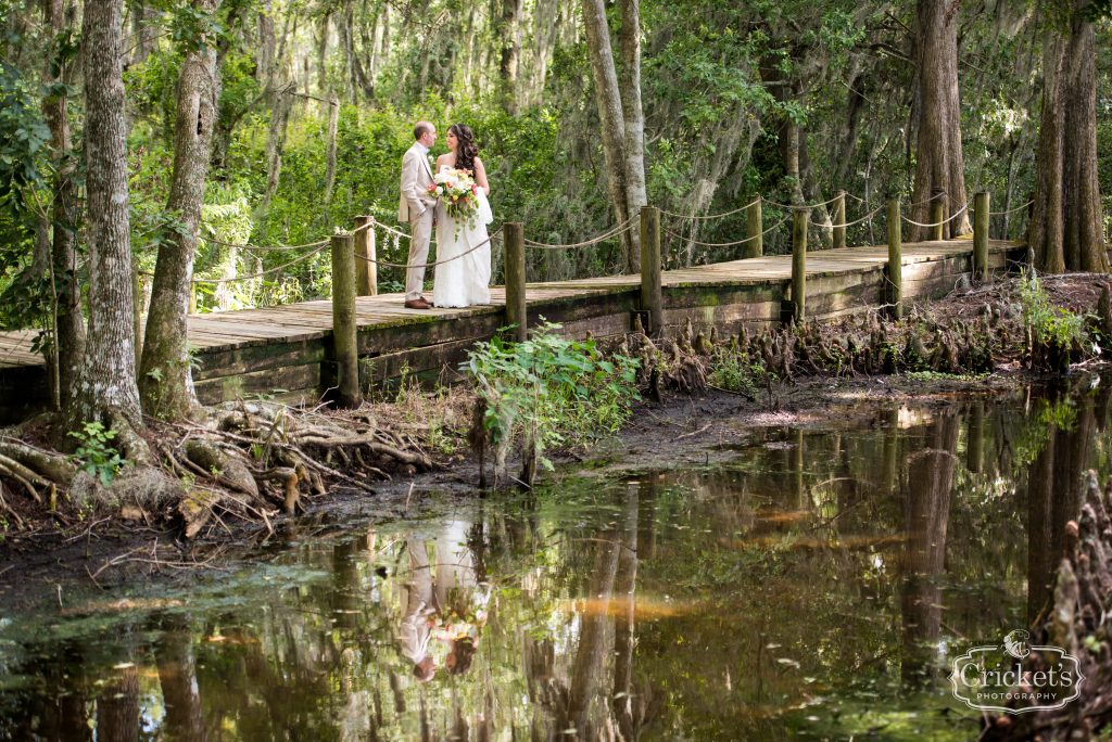 Bride & Groom First Look Bridge | Travel Themed Inspired Wedding Mission Inn Resort Orlando Florida Anna Christine Events Cricket's Photo & Cinema