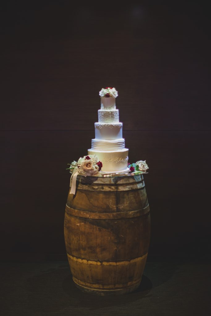 Wedding cake on barrel | Rustic Chic Wedding Romantic Ashley Jane Photography Streamsong Resort Florida Orlando Wedding Planner Anna Christine Events